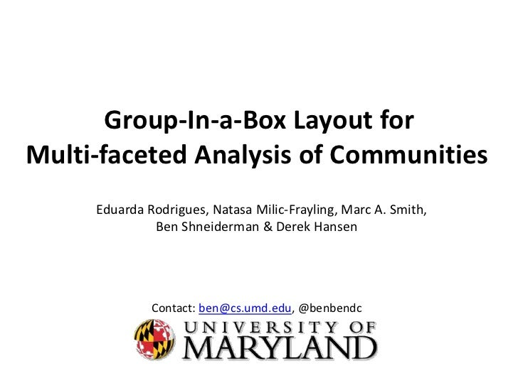 Group-In-a-Box Layout forMulti-faceted Analysis of Communities     Eduarda Rodrigues, Natasa Milic-Frayling, Marc A. Smith...