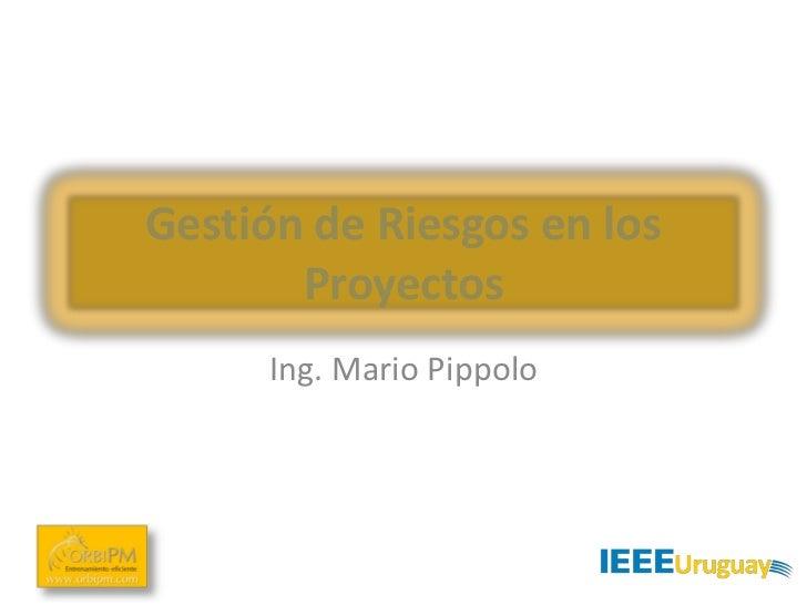 Gestión de Riesgos en los       Proyectos     Ing. Mario Pippolo
