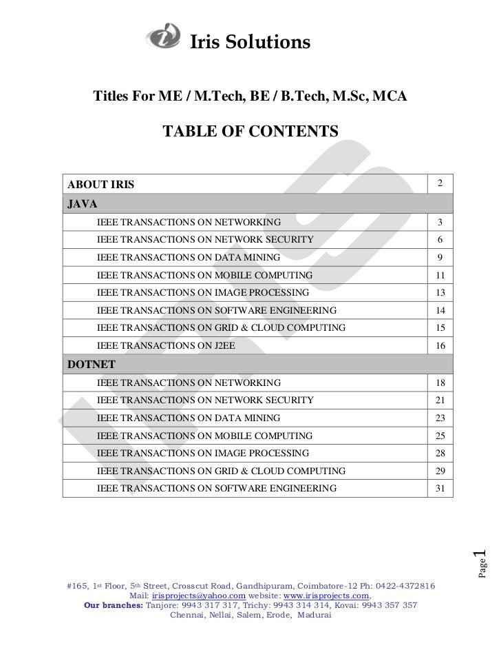 Iris Solutions      Titles For ME / M.Tech, BE / B.Tech, M.Sc, MCA                      TABLE OF CONTENTSABOUT IRIS       ...