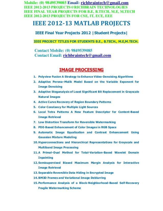 Ieee 2012 2013 btech student matlab projects richbraintech