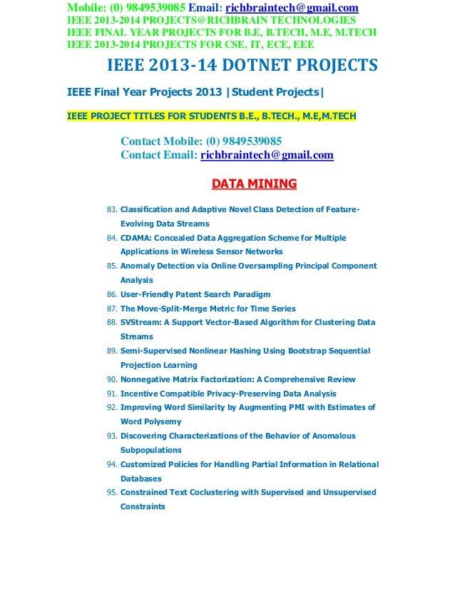 Ieee 2013 2014 dotnet project titles richbraintechnologies