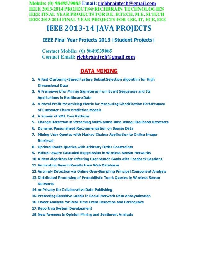 Ieee 2013 2014 final sem students cse,it java project titles