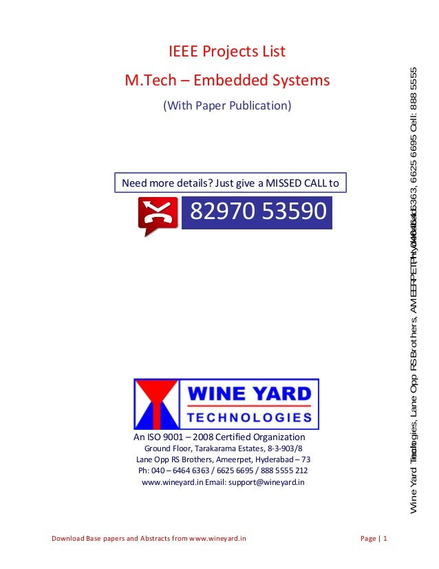 IEEE 2015 Projects for M Tech & B Tech Embedded Systems