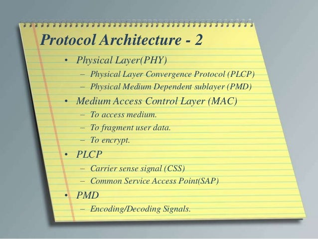 Protocol Architecture - 2   • Physical Layer(PHY)      – Physical Layer Convergence Protocol (PLCP)      – Physical Medium...