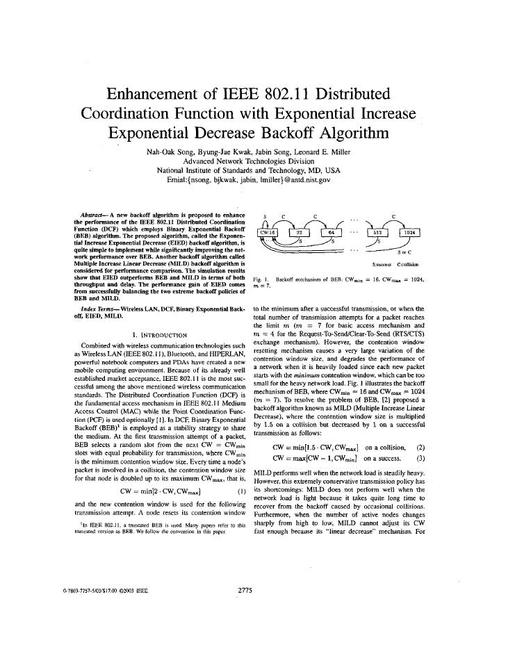 Enhancement of IEEE 802.11 Distributed      Coordination Function with Exponential Increase         Exponential Decrease B...