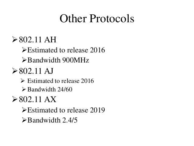 Other Protocols 802.11 AH Estimated to release 2016 Bandwidth 900MHz 802.11 AJ  Estimated to release 2016 Bandwidth ...