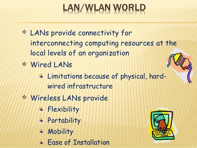  LANs provide connectivity for  interconnecting computing resources at the  local levels of an organization   Wired LANs...