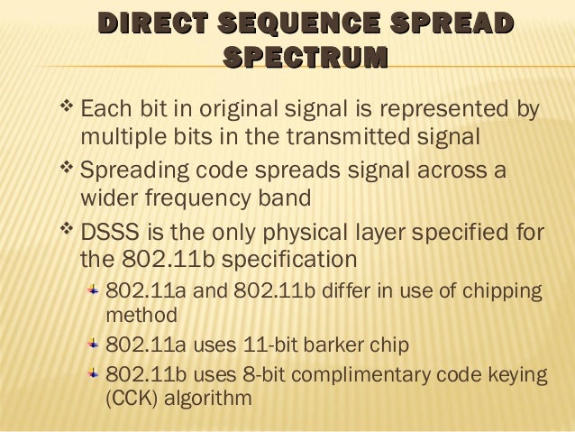 DIRECT SSEEQQUUEENNCCEE SSPPRREEAADD  SSPPEECCTTRRUUMM   Each bit in original signal is represented by  multiple bits in ...