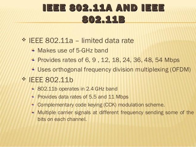 IEEE 880022..1111AA AANNDD IIEEEEEE  880022..1111BB   IEEE 802.11a – limited data rate  Makes use of 5-GHz band  Provides...