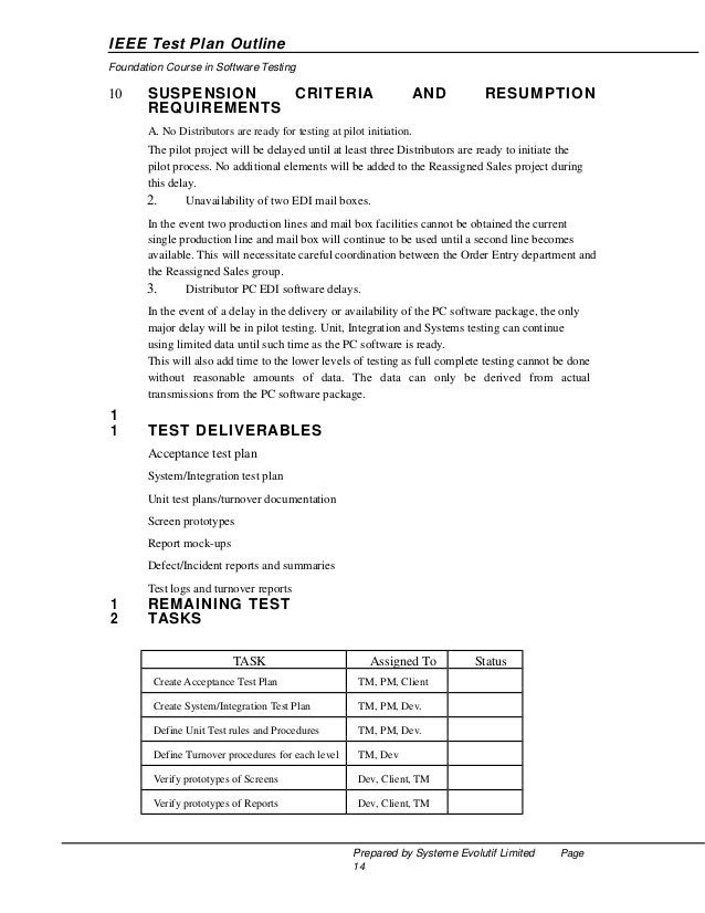 IEEE Test Plan Outline Foundation Course in Software Testing  4.  Development of System/Integration and Acceptance test pl...