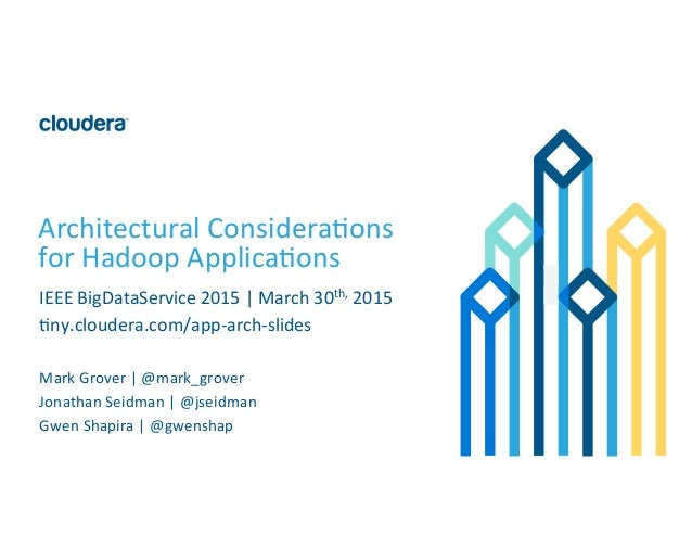 1	   ©	   Cloudera,	   Inc.	   All	   rights	   reserved.	    Architectural	   Considera8ons	    for	   Hadoop	   Applica8...