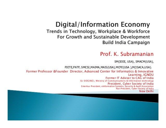 Prof. K. Subramanian SM(IEEE, USA), SMACM(US SM(IEEE, U SM(IEEE, USA), SMACM(USA), FIETE,FNTF, SMCSI,MAIMA,MAIS(USA),MCFE(...