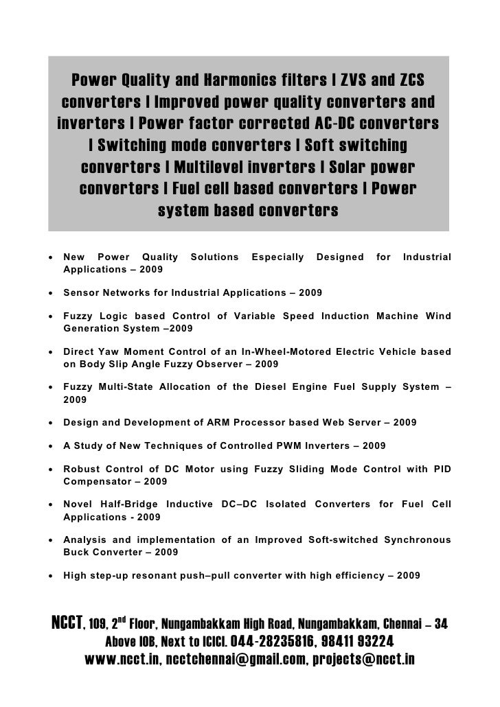 Power Quality and Harmonics filters   ZVS and ZCS      converters   Improved power quality converters and     inverters   ...