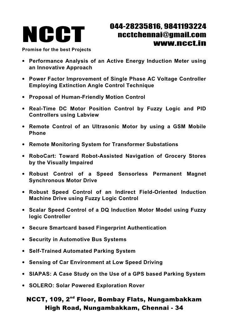 Ieee Embedded Ieee Project Titles, 2009 2010 Ncct Final Year