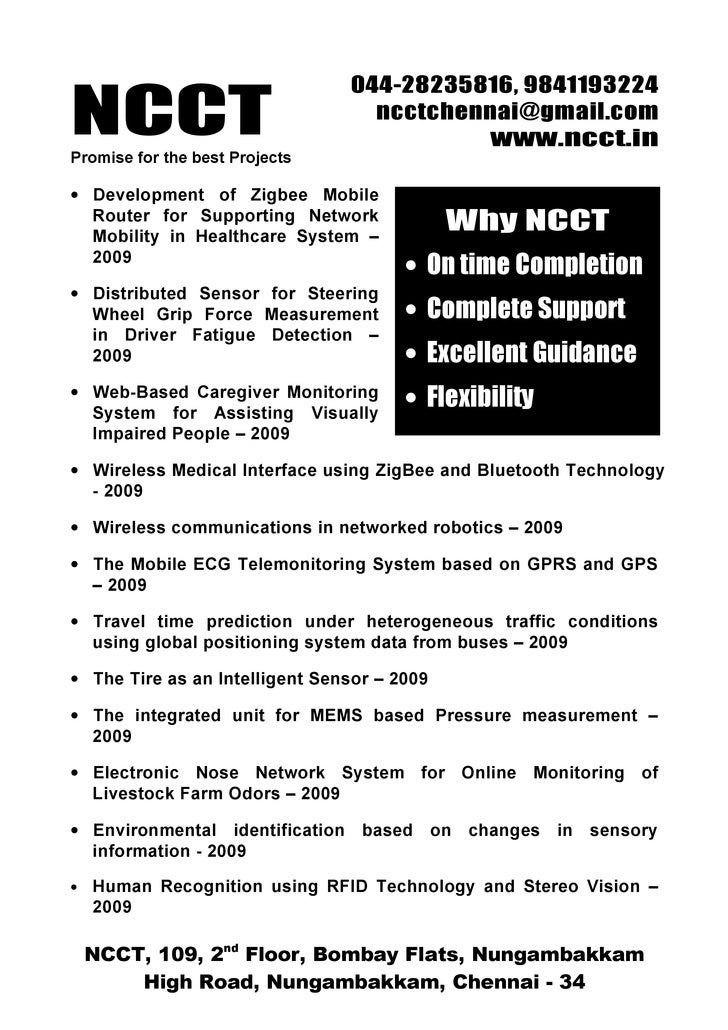 Ieee Embedded Ieee Project Titles 2009 2010 Ncct Final