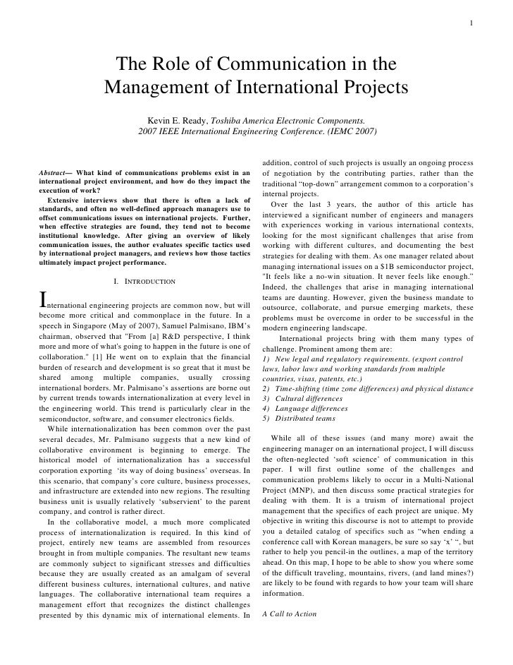 1                         The Role of Communication in the                    Management of International Projects        ...