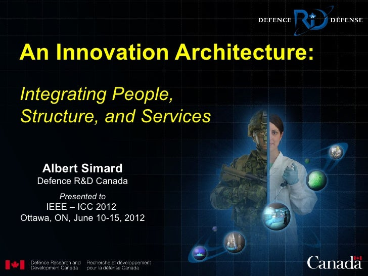 An Innovation Architecture:Integrating People,Structure, and Services    Albert Simard   Defence R&D Canada        Present...