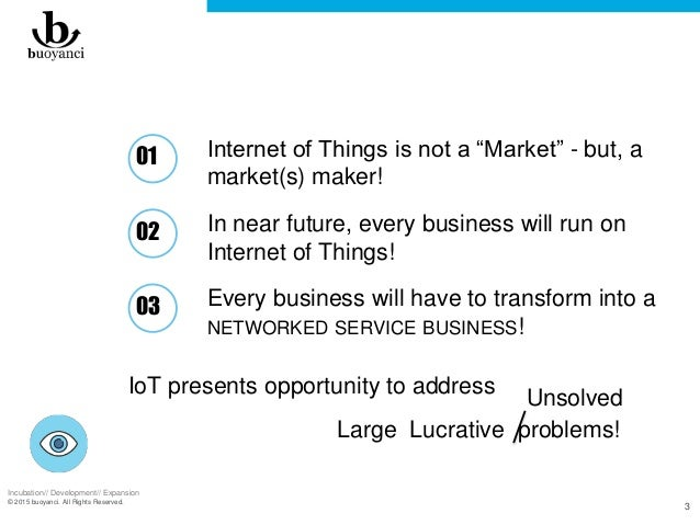 """Incubation// Development// Expansion © 2015 buoyanci. All Rights Reserved. 3 Internet of Things is not a """"Market"""" - but, a..."""
