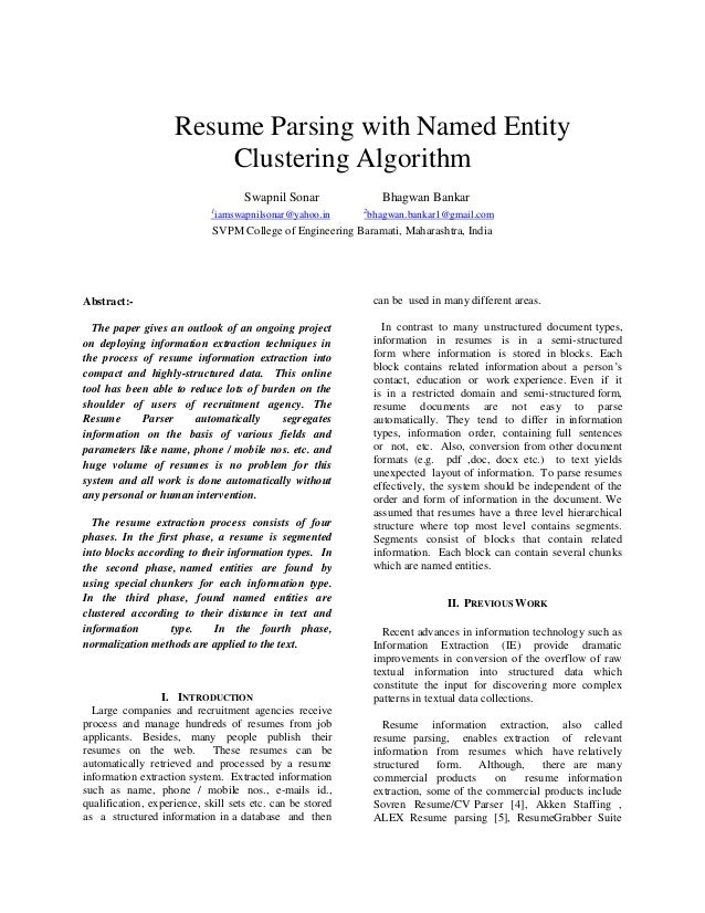 Superior Resume Parsing With Named Entity Clustering Algorithm Swapnil Sonar Bhagwan  Bankar 1 Iamswapnilsonar@yahoo. ... For Parse Resume Example