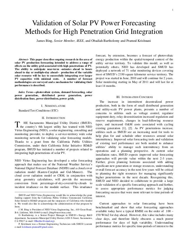 1           Validation of Solar PV Power Forecasting          Methods for High Penetration Grid Integration               ...
