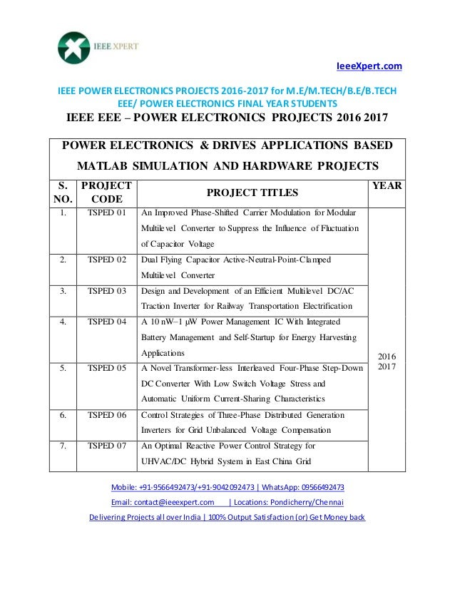 m.tech thesis in power electronics Branch: electronics and communication topic: power electronics  mtech  thesis topics list, power electronics based projects, power.