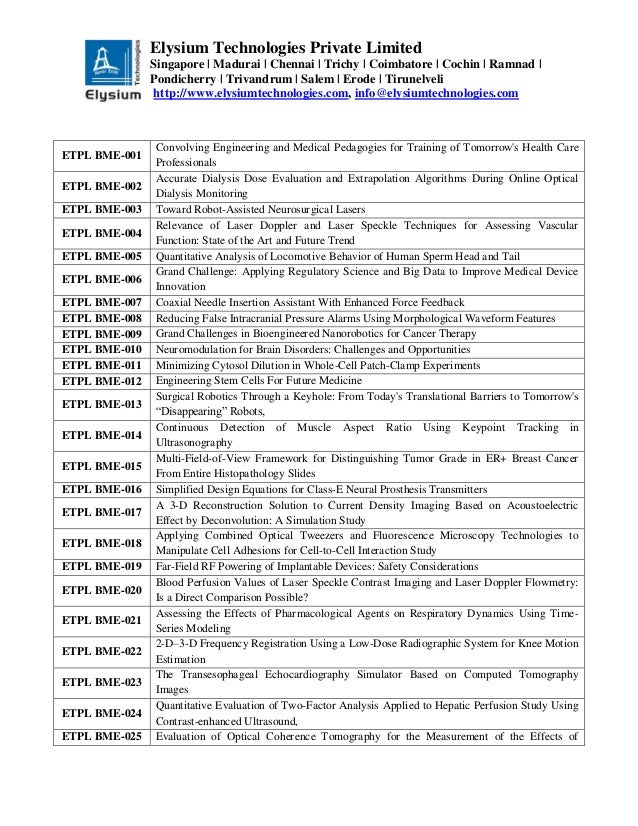Final Year Ieee Project 2013 2014 Bio Medical Title List