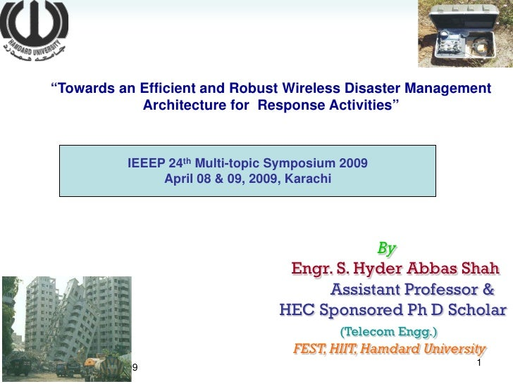 """Towards an Efficient and Robust Wireless Disaster Management                 Architecture for Response Activities""       ..."