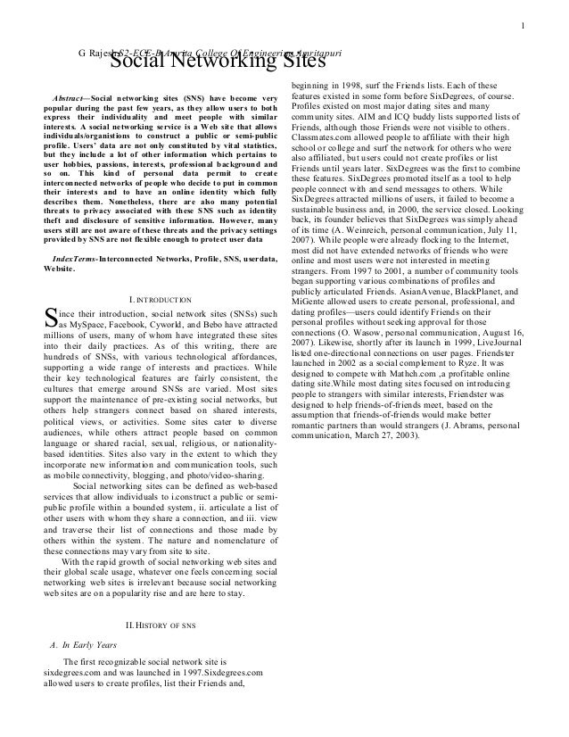 Research paper of social networking sites
