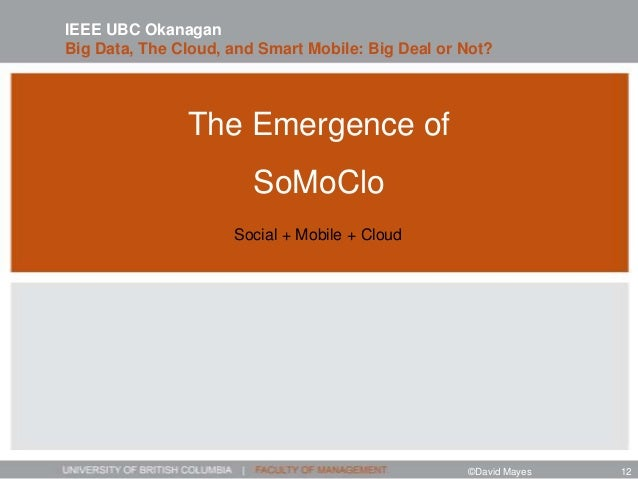 The Emergence of SoMoClo IEEE UBC Okanagan Big Data, The Cloud, and Smart Mobile: Big Deal or Not? Social + Mobile + Cloud...
