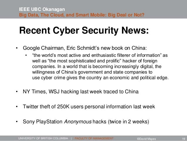 """Recent Cyber Security News: • Google Chairman, Eric Schmidt's new book on China: • """"the world's most active and enthusiast..."""