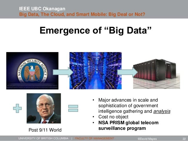 """Emergence of """"Big Data"""" • Major advances in scale and sophistication of government intelligence gathering and analysis • C..."""