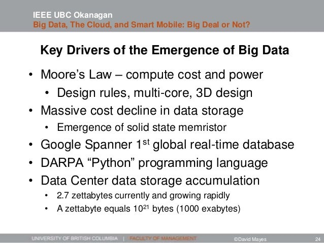 Key Drivers of the Emergence of Big Data • Moore's Law – compute cost and power • Design rules, multi-core, 3D design • Ma...