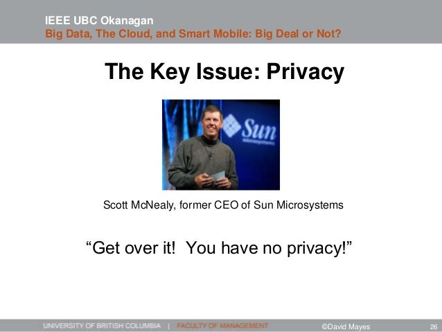 """The Key Issue: Privacy """"Get over it! You have no privacy!"""" Scott McNealy, former CEO of Sun Microsystems IEEE UBC Okanagan..."""
