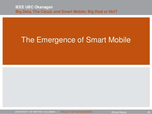 The Emergence of Smart Mobile IEEE UBC Okanagan Big Data, The Cloud, and Smart Mobile: Big Deal or Not? ©David Mayes 28