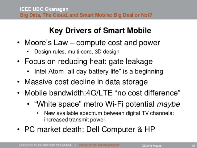 Key Drivers of Smart Mobile • Moore's Law – compute cost and power • Design rules, multi-core, 3D design • Focus on reduci...