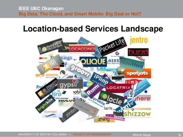 Location-based Services Landscape IEEE UBC Okanagan Big Data, The Cloud, and Smart Mobile: Big Deal or Not? ©David Mayes 32