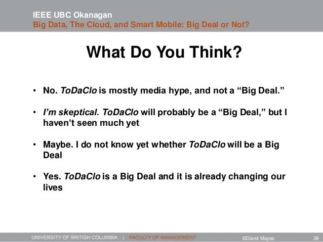 """What Do You Think? • No. ToDaClo is mostly media hype, and not a """"Big Deal."""" • I'm skeptical. ToDaClo will probably be a """"..."""