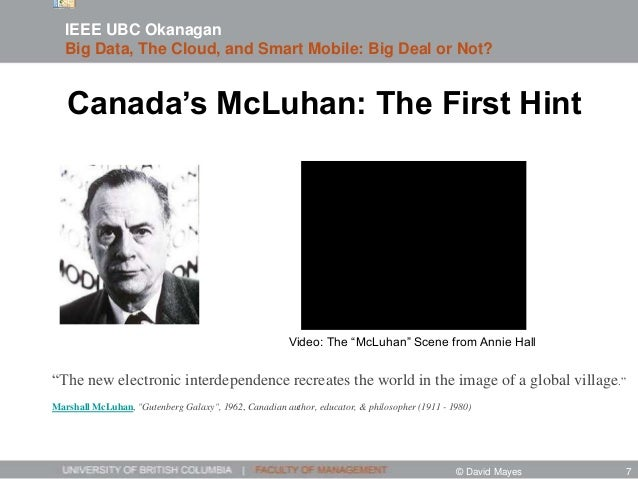 """Canada's McLuhan: The First Hint """"The new electronic interdependence recreates the world in the image of a global village...."""
