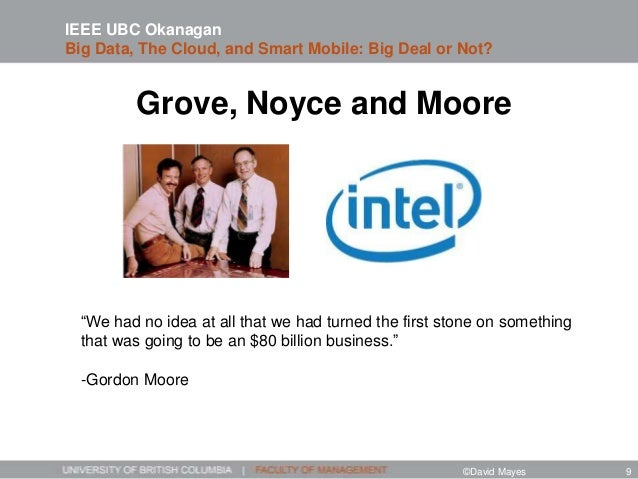 """Grove, Noyce and Moore IEEE UBC Okanagan Big Data, The Cloud, and Smart Mobile: Big Deal or Not? """"We had no idea at all th..."""