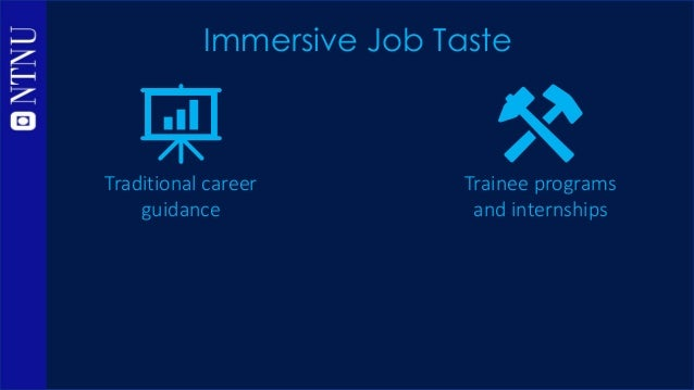 Traditional career guidance Trainee programs and internships Rely on text- based information time-consuming, logistically ...