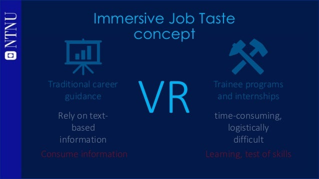 VR Immersive Job Taste concept capture experiences in the workplace convey experiences directly a 'peek' into a profession...