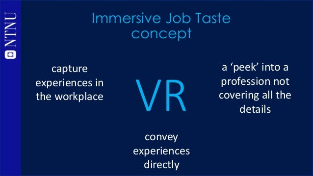 VR Immersive Job Taste methodology capture experiences in the workplace convey experiences directly a 'peek' into a profes...