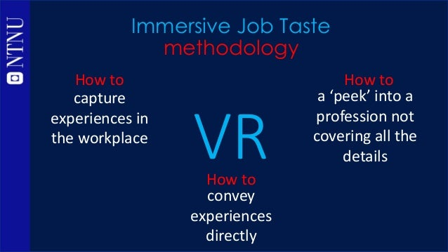 Immersive Job Taste methodology capture experiences in the workplace How to -> 3D