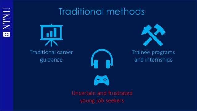 Traditional methods Traditional career guidance Trainee programs and internships Uncertain and frustrated young job seekers