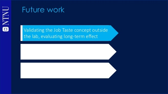 Future work Validating the Job Taste concept outside the lab, evaluating long-term effect Further developing the Job Taste...