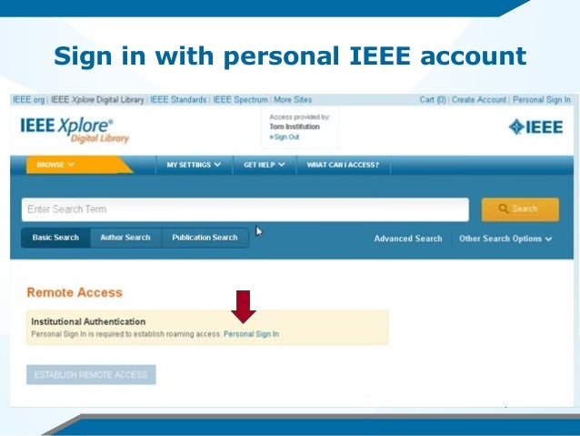 Sign in with personal IEEE account
