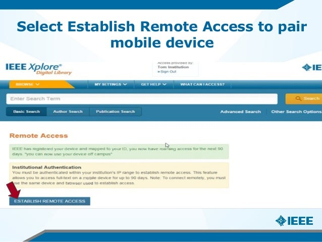 Select Establish Remote Access to pair mobile device
