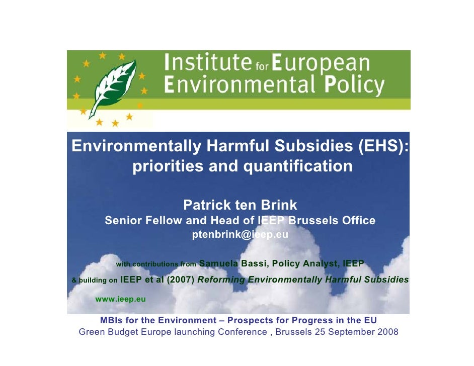 Environmentally Harmful Subsidies (EHS):        priorities and quantification                                 Patrick ten ...
