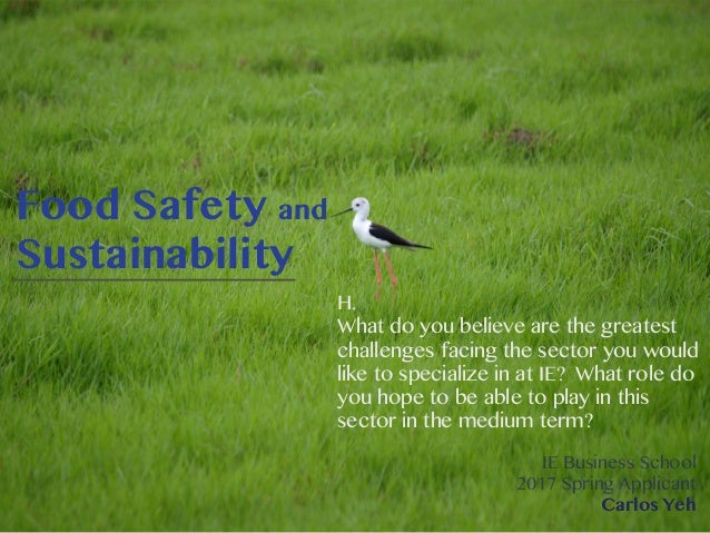 Food Safety and Sustainability H. What do you believe are the greatest challenges facing the sector you would like to spec...