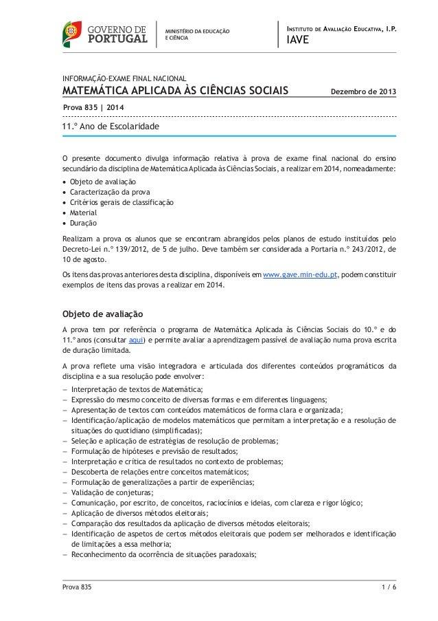 Prova 835 1 / 6 O presente documento divulga informação relativa à prova de exame final nacional do ensino secundário da ...